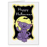 Happy Halloween Purple Kitty Cat Card #halloween #happyhalloween #halloweenparty #halloweenmakeup #halloweencostume