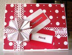 Tea Bag Folding Origami Christmas Card  Red