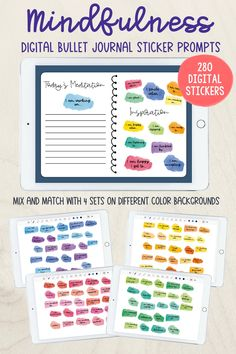Mindfulness Digital Sticker Prompts for Digital Journals, Planners and Bullet Journals - PRECROPPED Goodnotes Stickers Journal Prompts, Journal Pages, Meaningful Conversations, Digital Journal, Journal Stickers, Writing Skills, Life Planner, Positive Vibes, Limes