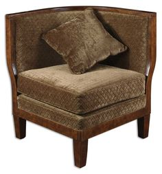 "Rollins, Corner Chair - Sculpted, plush sage covering with coordinating sage pillow. Exposed hardwood frame accent is richly finished in warm, weathered walnut. Chairs pair comfortably for use as a settee. Seat height is 20"".  Designer: Matthew Williams."