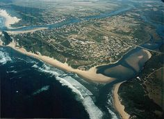 Aerial view of Kenton on Sea lying between the Kariega and Bushmans Rivers in the Eastern Cape. Aerial View, River, Sea, Places, Outdoor, Outdoors, Ocean, Outdoor Games, Outdoor Living