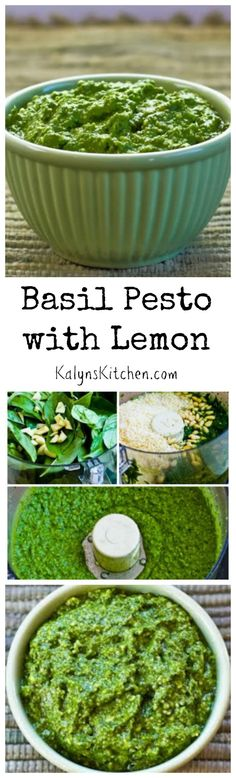 Making your own basil pesto couldn't be easier, and I love this recipe with a touch of lemon. I've been making this for at least 20 years; so good! This post also has Ten Ideas for Using Basil Pesto. [from KalynsKitchen.com] #Summer #Basil