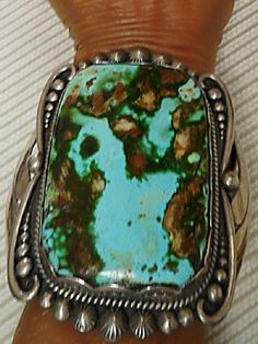 MUSEUM PIECE - Massive 4x3 Natural Royston Turquoise Ceremonial Cuff; Provenance: Mickey Vanderwagen Collection; Hallmarked with the noted Yatahay hallmark on obverse; Sterling silver 10oztw.