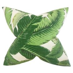 Check out this item at One Kings Lane! Palm Branch 18x18 Pillow, Green