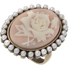 Flower Cameo Ring ($11) ❤ liked on Polyvore featuring jewelry, rings, accessories, pink, diva rings &amp bodywear, jewellery by diva, women's jewellery, flower jewellery, pink jewelry and pink flower ring