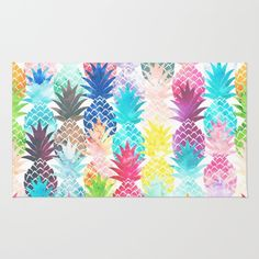 Whimsical Watercolor pineapple pattern, modern trendy, abstract multicolor pineapples fruit design featuring bright and colorful Hawaiian pineapple with artistic and abstract pastel tropical pink, yellow. Hawaiian Bedroom, Hawaiian Decor, Pineapple Pattern, Fruit Pattern, Watercolor Rug, Hawaiian Homes, Best Amazon Products, Pretty Pastel, Home Decor Trends