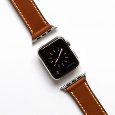 Apple watch strap in Sachel brown leather with ecru stitching. Apple Watch Leather Strap, Watch Straps, Smart Watch, Brown Leather, Stitching, Watches, Costura, Smartwatch, Wristwatches