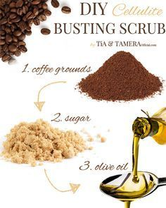 1/2 cup coffee grounds 1/2 cup sugar 1/4 cup olive oil instructions: mix together and then rub in circular motion for 5 minutes on the cellulite area of the body. Lastly rinse off with warm water and dry.