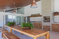 Best Home Decoration Magazine Bamboo House Design, Sweet Home, Backyard Kitchen, Simple Furniture, Mid Century House, Simple House, Kitchen Remodel, Kitchen Design, House Plans