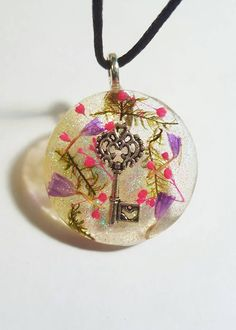 Key Charm Real Purple Pink Flowers Green Moss Glitter Nature Necklace Resin Pendant Earth Bohemian Jewelry  at https://www.etsy.com/listing/270565722/skeleton-key-charm-real-purple-pink