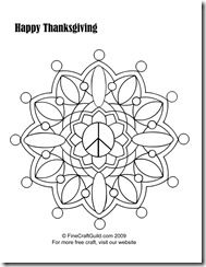 Difficult coloring pages: Peace Mandala... something to do during Thanksgiving ...