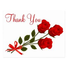Floral Red Thank You Rose Flower - Wedding Love Postcard - thank you gifts ideas diy thankyou Thank You Messages Gratitude, Thank You Wishes, Thank You Quotes, Thank You Gifts, Flower Boquet, Red Rose Flower, Red Roses, Thank You Pictures, Thank You Images