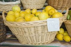 Straw basket on lemons. Fresco, Empty, Bowls, Baskets, Italy, Fruit, Pretty, Recipes, Decor