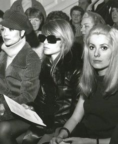 Elsa Martinelli, Françoise Hardy, and Catherine Deneuve front row at YSL (1967)- fierce.