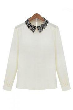 Small embroidered collar shirt