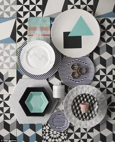 FLOOR TILES, from £69 per sq m, Encaustic Tiles. From top left: TEA TOWEL, £19, Smug. TRIA...