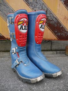 AXO VINTAGE MOTOCROSS BOOTS SKY BLUE  SIZE⇒表記読み取り不可(26㎝前後)  アウトソール⇒約30cm ...