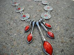 Drops of Coral Dangle Necklace by TheOmbrePoodle on Etsy, $14.00