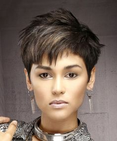 Straight Formal Pixie Hairstyle with Asymmetrical Bangs - Dark Brunette Hair Color Short Pixie Hairstyle - Straight Formal - Dark Brunette Short Pixie Haircuts, Pixie Hairstyles, Straight Hairstyles, Cool Hairstyles, Short Haircut, Short Pixie Cuts, Pixie Haircut Color, Dark Pixie Cut, Pixie Cut With Bangs