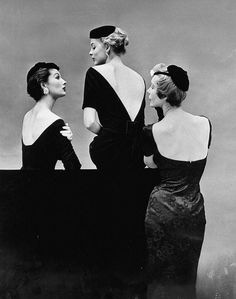 Models in bare-back cocktail dresses offer oval (l) by Ceil Chapman, deep V by Givenchy (c) and square by Larry Aldrich, photo by Sharland, 1953