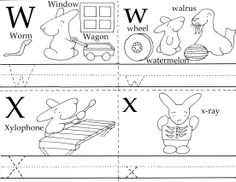 Free Preschool Printable. W and X, 3 in 1 Printable. Learning made fun!