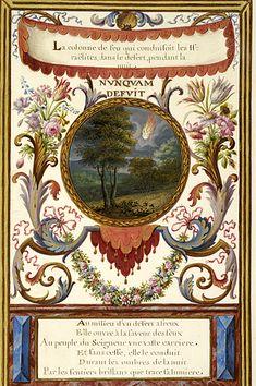 Emblem with Pillar of Fire in nocturnal landscape and motto, NVNQVAM DEFVIT. | La vérité à la place des ombres | Emblem book | France, Paris | 1679 | The Morgan Library & Museum