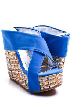 $17.99 - these might be a bit easier to wear than some platforms  BLUE FAUX SUEDE CROSS STRAP WOVEN WEDGE