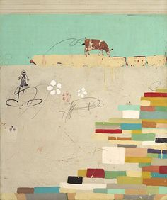 Michael  Cutlip - Michael Cutlip at Seager Gray Gallery_ Grazing is a whimsical colorful mixed media painting using collage.