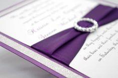 Stunning Purple & Silver Glitter Wedding Invitation by InviteBling