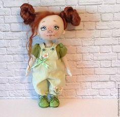 Купить Кукла текстильная интерьерная - зеленый, кукла ручной работы, кукла в подарок, текстильная кукла