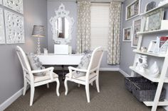 After: Beth Beattie's Tiny Office Goes Glam small office roomsmall office room Feminine Office, Dream Office, Small Spaces, Home, Chic Office, Home Decor, Tiny Office, Office Design, White Office