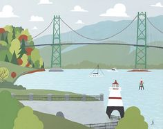 Vancouver - Lions Gate Bridge, Art archival print of illustration of scenic cityscape of Downtown BC city
