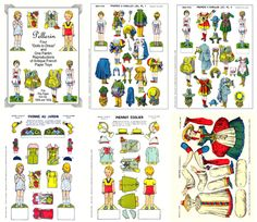 pellerin dolls to dress antique french paper toys