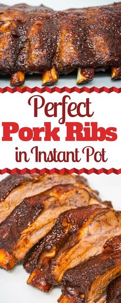 Perfect Pork Ribs in the Instant Pot - Instant Pot Baby Back Ribs bring all the smoky BBQ flavor without having to stand in front of the grill. It's easy to make tender rack of pork ribs in the Instant Pot. # Instant Pot Baby Back Ribs Pork Back Ribs, Bbq Pork Ribs, Instant Pot Ribs Recipe, Instant Pot Dinner Recipes, Instant Pot Pressure Cooker, Pressure Cooker Recipes, Healthy Recipes, Cooking Recipes, Pork Rib Recipes