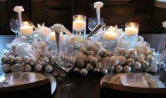 christmas wedding table decorations - Google Search