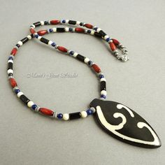 Mens Tribal Style Necklace, Handmade with Bone, Stone, Wood, and Metal | Mamis_Gem_Studio - Jewelry on ArtFire