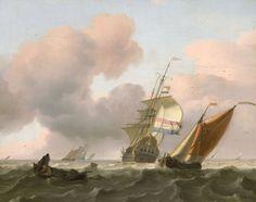 Ludolf Bakhuysen - Woelige zee met schepen