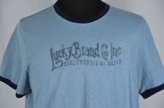 Lucky Brand Mens XXL Slim Fit Blue Fitted T-Shirt #LuckyBrand #GraphicTee