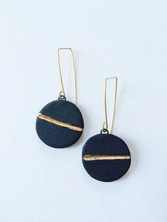 Chunky medium rectangular gold hoop earrings or silver hoop earrings - minimal, geometric, and thick bold hoops - Fine Jewelry Ideas - Horizon Dangle Earrings by Syra Gomez: Ceramic Earrings – STUDIO SALE available at www. Bar Stud Earrings, Silver Hoop Earrings, Diy Earrings, Gemstone Earrings, Diamond Earrings, Flower Earrings, Black Earrings, Chain Earrings, Diamond Jewellery