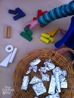 Building Blocks and Foil - a Simple Invitation to Play. - One Perfect Day