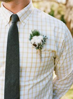 love the checked shirt + cotton bout combo | photo by Q Weddings