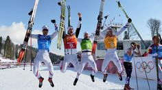 Ivan Perrillat Boiteux, Jean Marc Gaillard, Maurice Manificat and Robin Duvillard of France celebrate winning the bronze medal in the Men's 4 x 10 km Relay (c) Getty Images Men's Hockey, Hockey Players, Bode Miller, Robin, Go Usa, Country Men, Cross Country Skiing, France, Winter Olympics