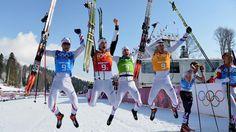 les Français remportent le bronze en relais 4x10 km ski de fond : Maurice Manificat, Robin Duvillard, Ivan Perrillat-Boiteux et Jean-Marc Gaillard