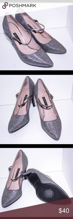 Glitter Mary Jane Pumps Silver Glitter Mary Jane Pumps, these are definitely an eye-catcher. Very unique. Worn once. All reasonable offers accepted. Dana Buchman Shoes Heels