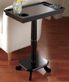 BLACK HOME THEATER TABLE, BLACK SOFA TABLE WITH CUP HOLDERS   Click Image  Twice For