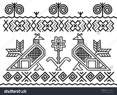 Unique decoration of log houses based on patterns used in traditional embroidery in village of Cicmany, UNESCO World Heritage Site, Slovakia, Vector on white background Pattern Art, Art Patterns, Log Homes, Digital Illustration, Quilt Blocks, Folk Art, Decoration, Quilts, Embroidery