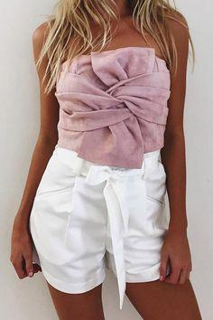 61a318c4733 Pink Strapless Zipper Back Sexy Suede Crop Top