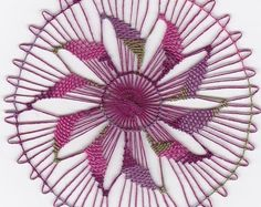 Ñandutí Handmade Lace Wohnkultur Home Deco Wandkunst Deckchen - Pink, Grün Paraguayische Bestickte Spitze Nanduti Sol Lace Needle Lace - Tenerife, Needle Lace, Bobbin Lace, Lace Weave, Drawn Thread, Lace Doilies, Irish Lace, Lace Making, Irish Crochet