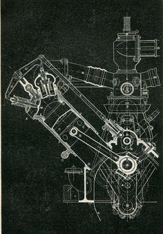 Mechanical Engineering Drawing Wolseley Motor 120 HP 8 cylinders, Vintage Print