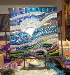 RESERVED BEACH GARDEN MOSAIC FUSED. $680.00, VIA ETSY.   WOW!